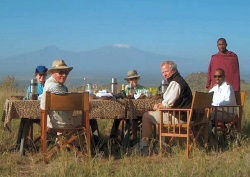 Enjoy your dinner with a stunning view of Mount Kilimanjaro at Campi ya Kanzi