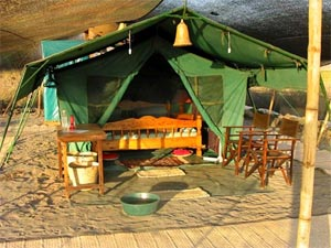 One of the 6 tents for our guests at the Lake Natron Camp