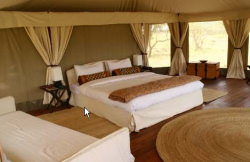 Comfortable kingsize beds in spacious tents at the Ol Seki Mara Camp