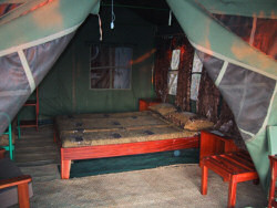 Bedroom of one of the tents at the Selous Mbega Camp