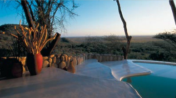 The unique style of the pool at shompole-lodge promises utter relaxation.